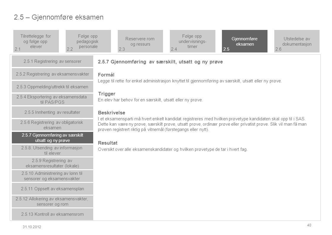 2.5.7 Gjennomføring av særskilt, utsatt og ny prøve Formål Legge til rette for enkel administrasjon knyttet til gjennomføring av særskilt, utsatt eller ny prøve.