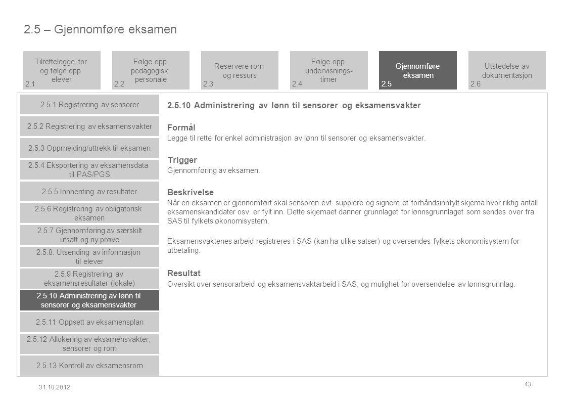 2.5.10 Administrering av lønn til sensorer og eksamensvakter Formål Legge til rette for enkel administrasjon av lønn til sensorer og eksamensvakter.