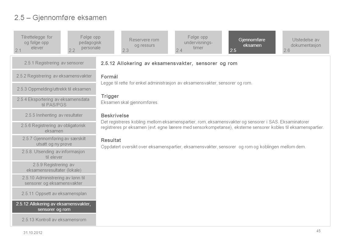 2.5.12 Allokering av eksamensvakter, sensorer og rom Formål Legge til rette for enkel administrasjon av eksamensvakter, sensorer og rom.