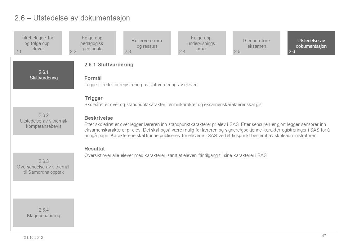 2.6 – Utstedelse av dokumentasjon 2.6.1 Sluttvurdering Formål Legge til rette for registrering av sluttvurdering av eleven.