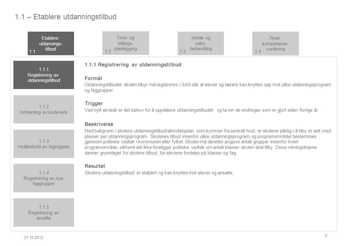 1.1 – Etablere utdanningstilbud 1.1.1 Registrering av utdanningstilbud Formål Utdanningstilbudet skolen tilbyr må registreres i SAS slik at elever og lærere kan knyttes opp mot ulike utdanningsprogram og faggrupper.