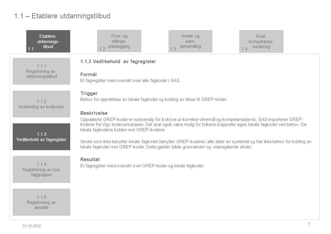 1.1 – Etablere utdanningstilbud 1.1.3 Vedlikehold av fagregister Formål Et fagregister med oversikt over alle fagkoder i SAS.