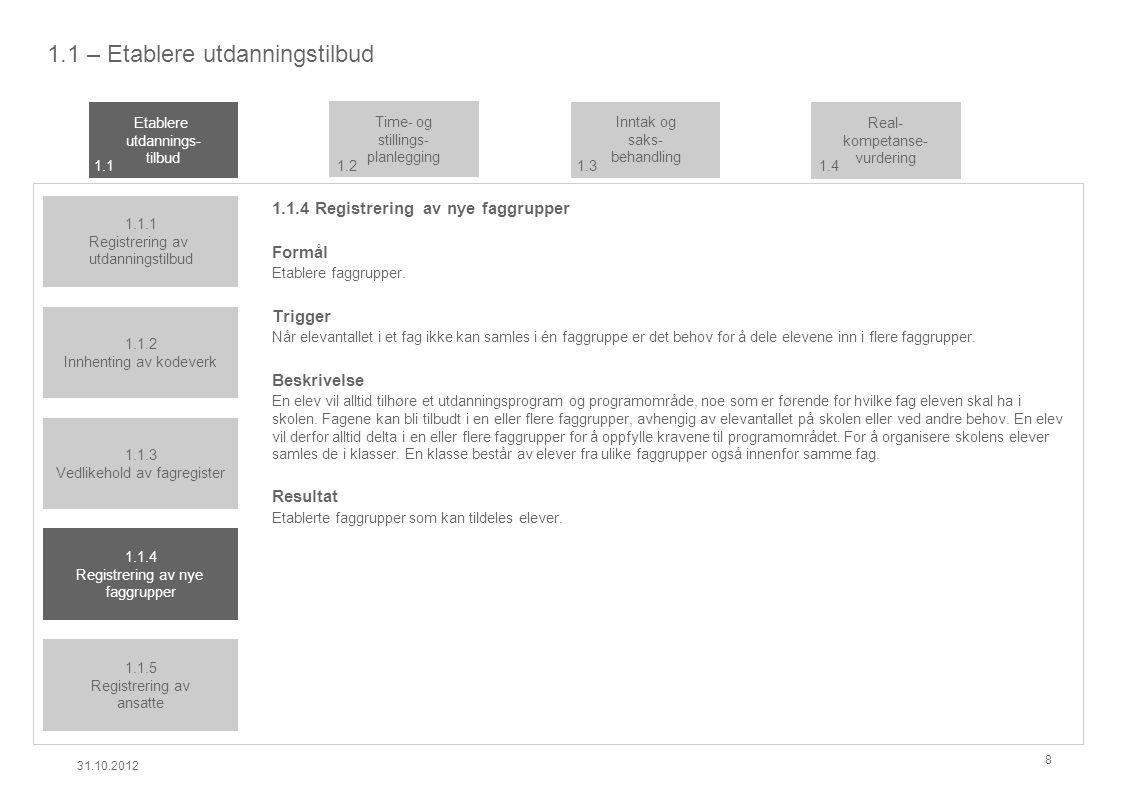 1.1 – Etablere utdanningstilbud 1.1.4 Registrering av nye faggrupper Formål Etablere faggrupper.