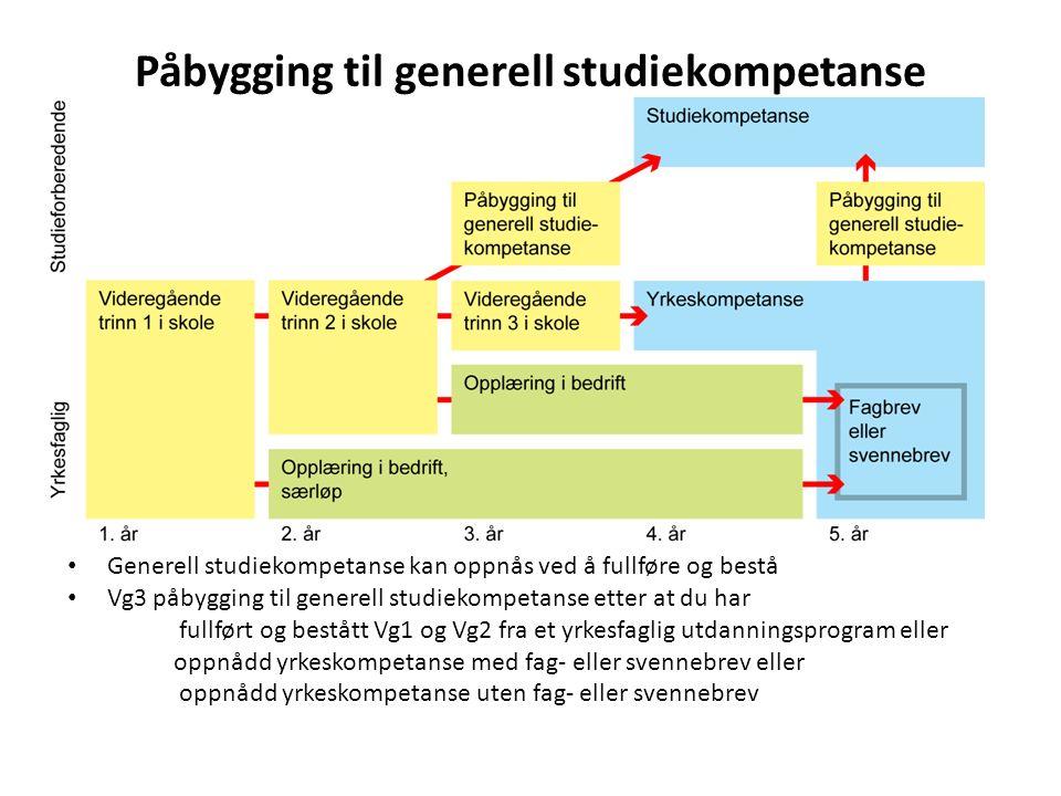 Påbygging til generell studiekompetanse Generell studiekompetanse kan oppnås ved å fullføre og bestå Vg3 påbygging til generell studiekompetanse etter