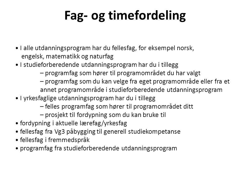 Fag- og timefordeling I alle utdanningsprogram har du fellesfag, for eksempel norsk, engelsk, matematikk og naturfag I studieforberedende utdanningspr