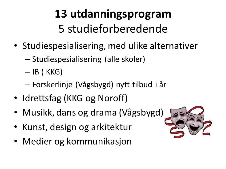 13 utdanningsprogram 5 studieforberedende Studiespesialisering, med ulike alternativer – Studiespesialisering (alle skoler) – IB ( KKG) – Forskerlinje