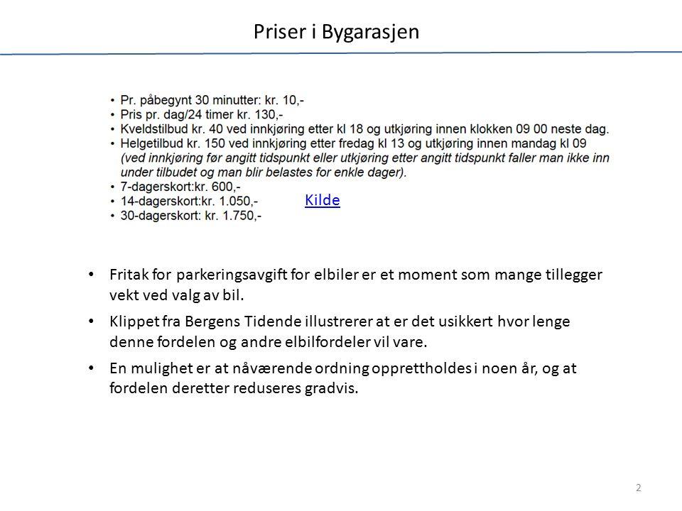 Priser i Bygarasjen Kilde 2 Fritak for parkeringsavgift for elbiler er et moment som mange tillegger vekt ved valg av bil.