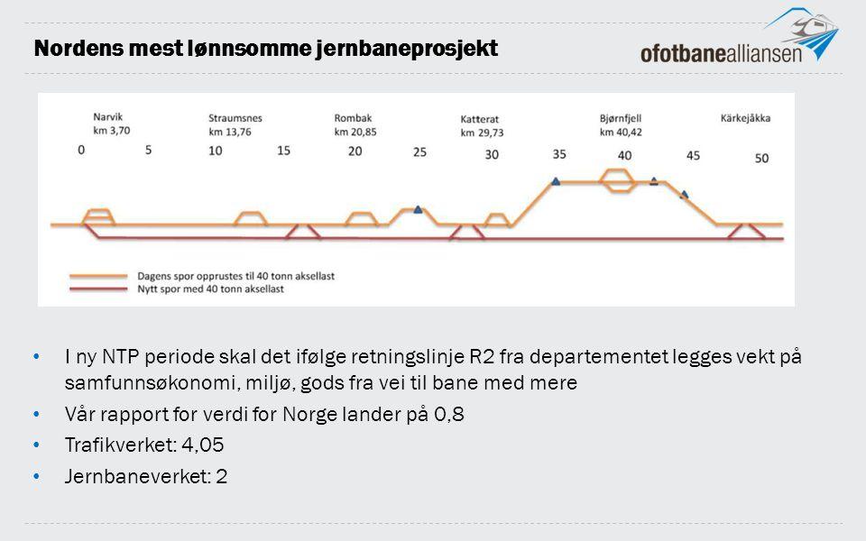 Nordens mest lønnsomme jernbaneprosjekt I ny NTP periode skal det ifølge retningslinje R2 fra departementet legges vekt på samfunnsøkonomi, miljø, gods fra vei til bane med mere Vår rapport for verdi for Norge lander på 0,8 Trafikverket: 4,05 Jernbaneverket: 2