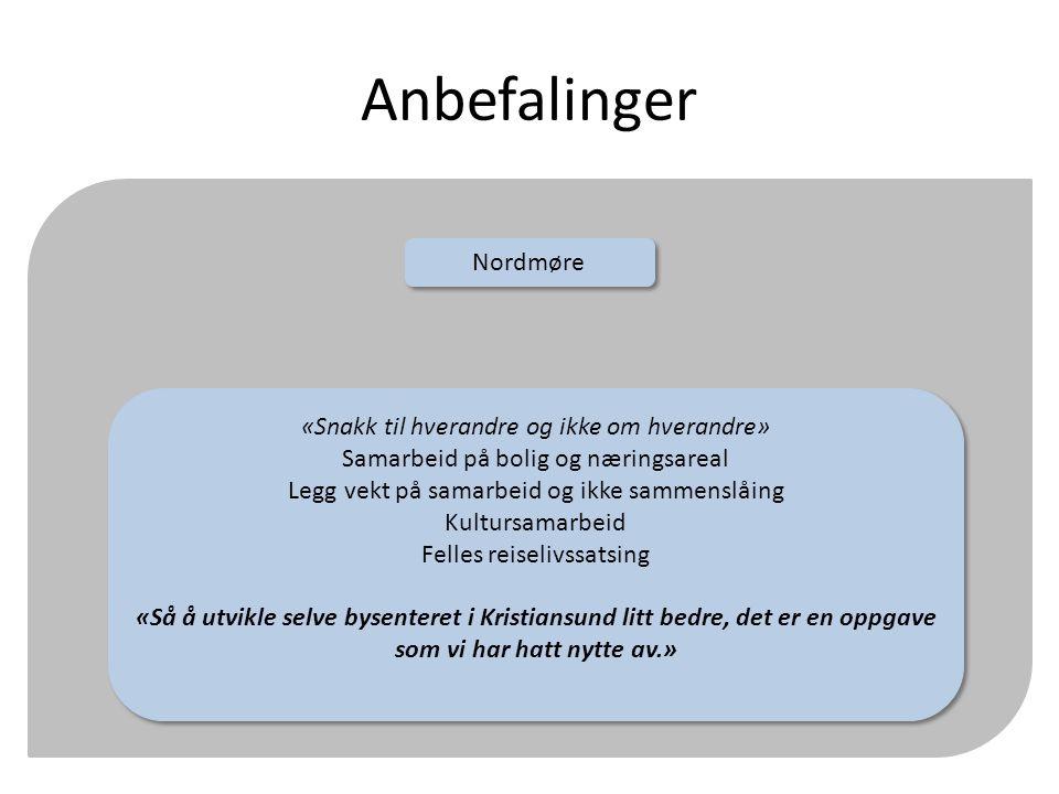 Anbefalinger Nordmøre «Snakk til hverandre og ikke om hverandre» Samarbeid på bolig og næringsareal Legg vekt på samarbeid og ikke sammenslåing Kultur