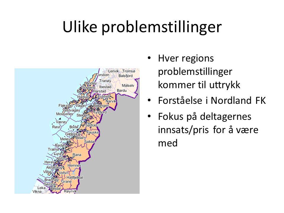 Ulike problemstillinger Hver regions problemstillinger kommer til uttrykk Forståelse i Nordland FK Fokus på deltagernes innsats/pris for å være med