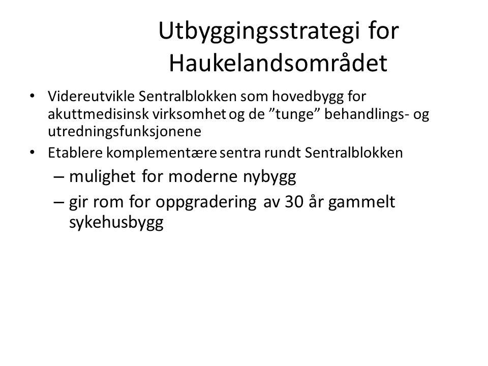 """Utbyggingsstrategi for Haukelandsområdet Videreutvikle Sentralblokken som hovedbygg for akuttmedisinsk virksomhet og de """"tunge"""" behandlings- og utredn"""