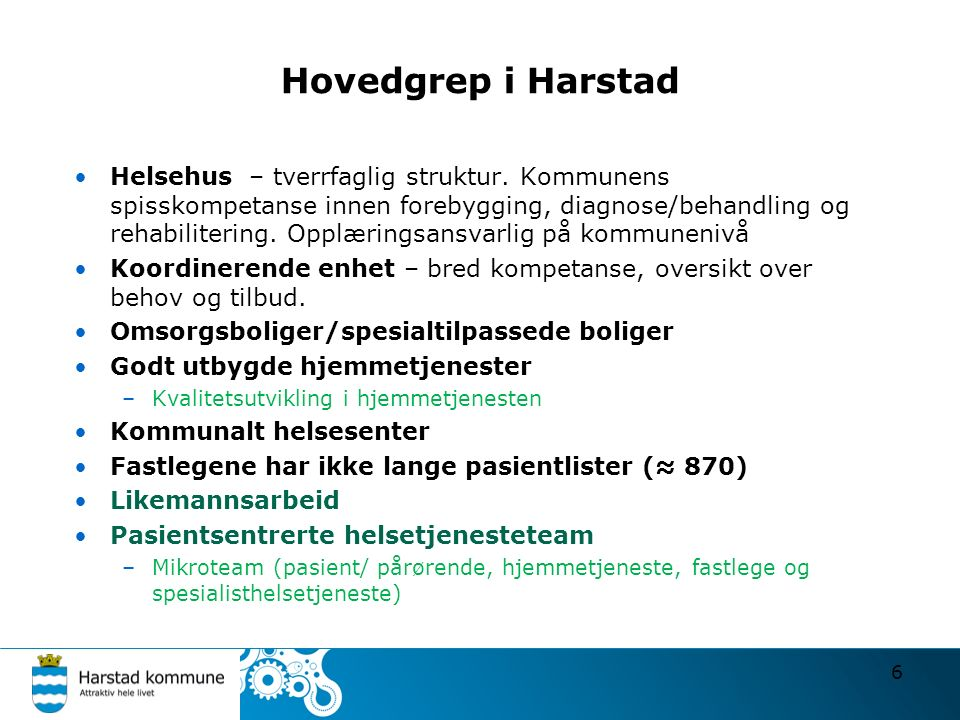 Hovedgrep i Harstad Helsehus – tverrfaglig struktur.