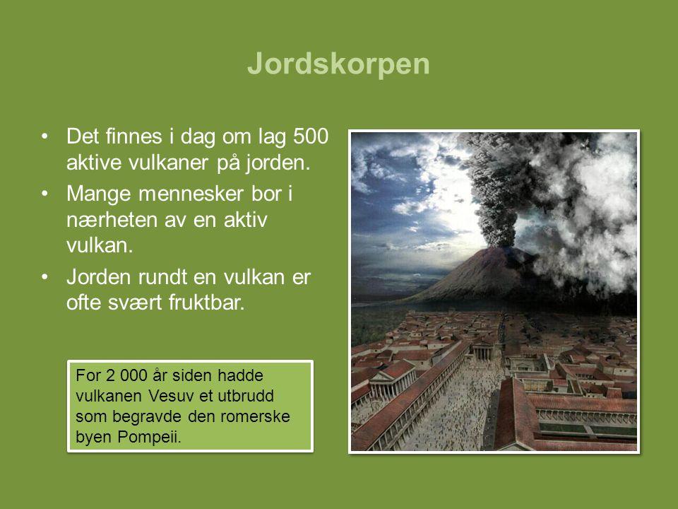 Jordskorpen Det finnes i dag om lag 500 aktive vulkaner på jorden. Mange mennesker bor i nærheten av en aktiv vulkan. Jorden rundt en vulkan er ofte s