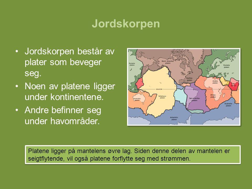 Jordskorpen består av plater som beveger seg. Noen av platene ligger under kontinentene. Andre befinner seg under havområder. Platene ligger på mantel