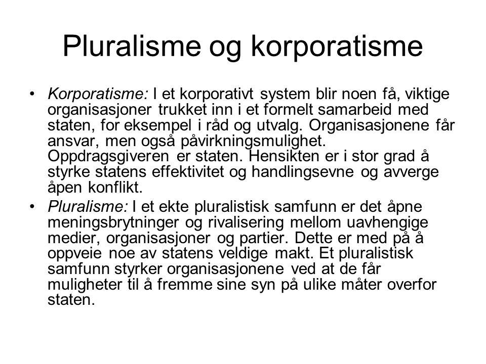 Pluralisme og korporatisme Korporatisme: I et korporativt system blir noen få, viktige organisasjoner trukket inn i et formelt samarbeid med staten, f