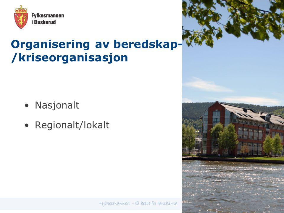 Organisering av beredskap- /kriseorganisasjon Nasjonalt Regionalt/lokalt