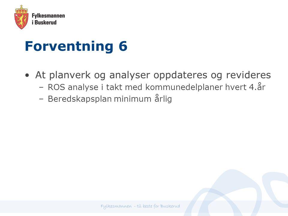 Forventning 6 At planverk og analyser oppdateres og revideres –ROS analyse i takt med kommunedelplaner hvert 4.år –Beredskapsplan minimum årlig
