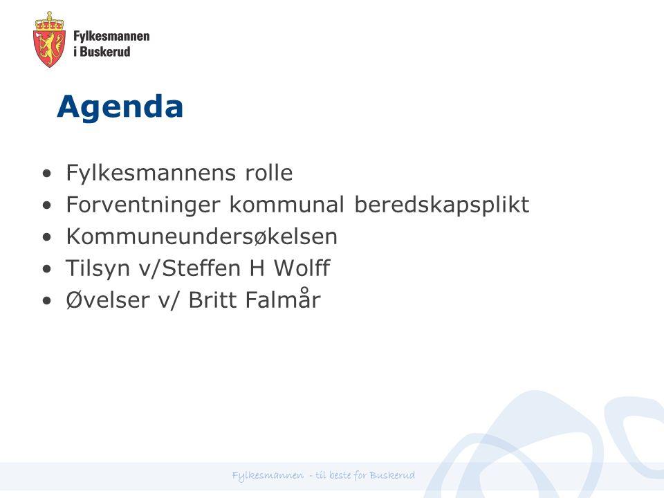 Agenda Fylkesmannens rolle Forventninger kommunal beredskapsplikt Kommuneundersøkelsen Tilsyn v/Steffen H Wolff Øvelser v/ Britt Falmår