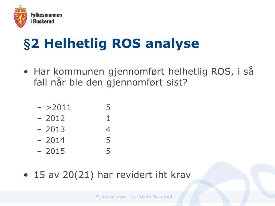 §2 Helhetlig ROS analyse Har kommunen gjennomført helhetlig ROS, i så fall når ble den gjennomført sist.