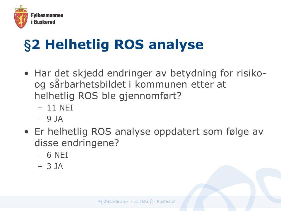 §2 Helhetlig ROS analyse Har det skjedd endringer av betydning for risiko- og sårbarhetsbildet i kommunen etter at helhetlig ROS ble gjennomført.