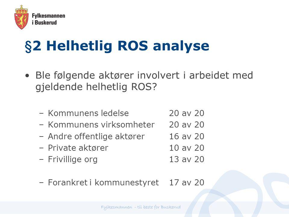 §2 Helhetlig ROS analyse Ble følgende aktører involvert i arbeidet med gjeldende helhetlig ROS.