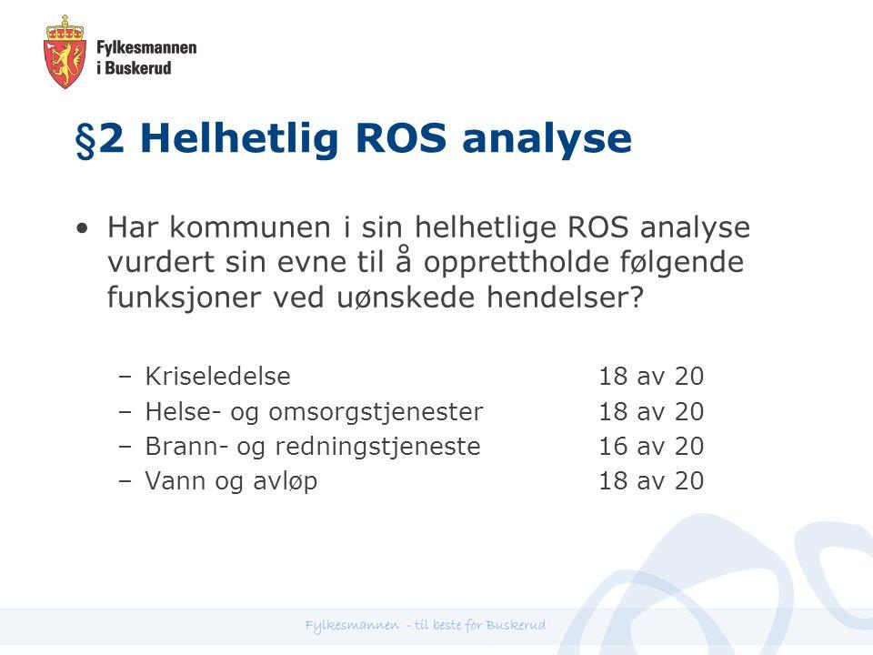 §2 Helhetlig ROS analyse Har kommunen i sin helhetlige ROS analyse vurdert sin evne til å opprettholde følgende funksjoner ved uønskede hendelser.