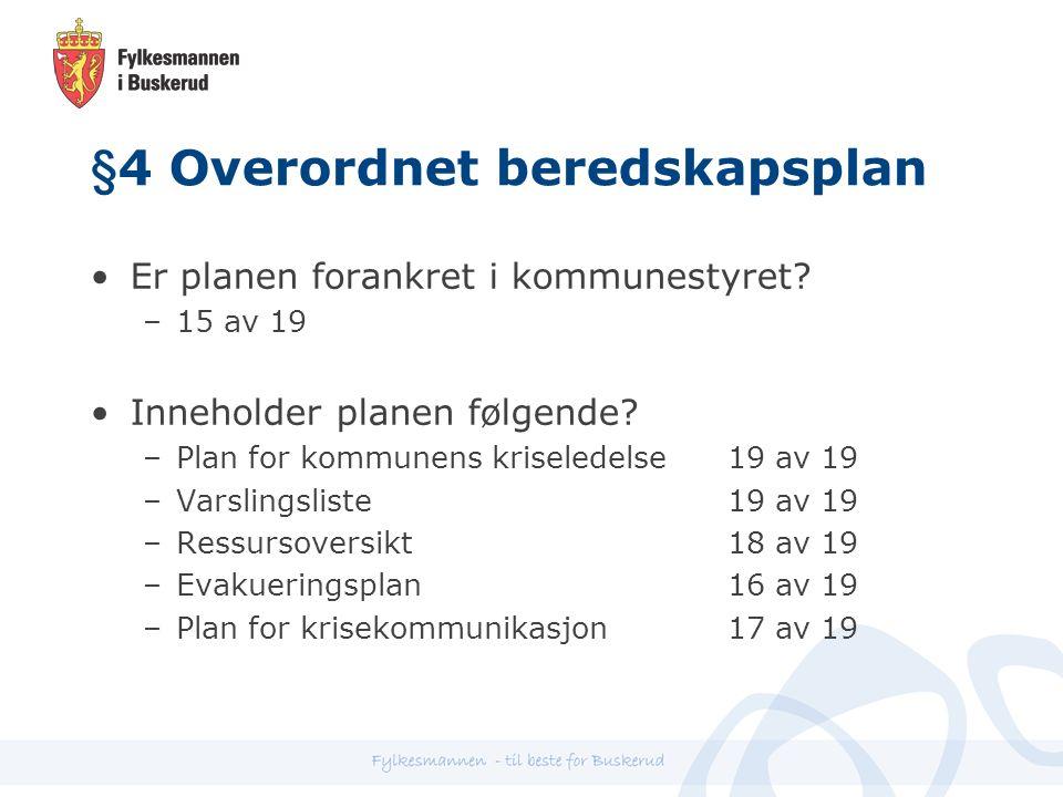 §4 Overordnet beredskapsplan Er planen forankret i kommunestyret.