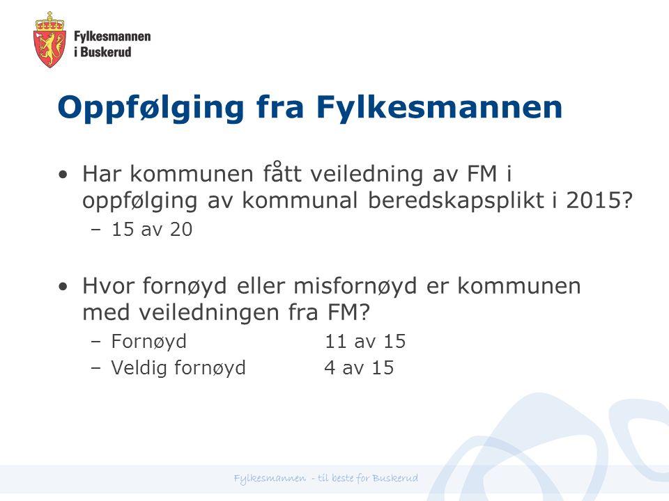 Oppfølging fra Fylkesmannen Har kommunen fått veiledning av FM i oppfølging av kommunal beredskapsplikt i 2015.