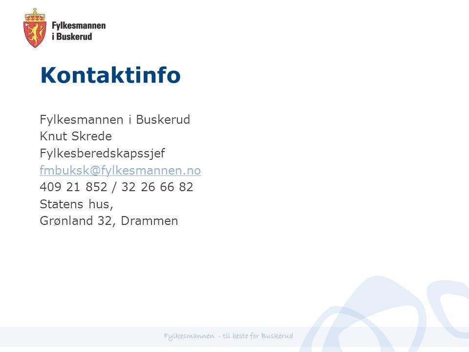 Kontaktinfo Fylkesmannen i Buskerud Knut Skrede Fylkesberedskapssjef fmbuksk@fylkesmannen.no 409 21 852 / 32 26 66 82 Statens hus, Grønland 32, Drammen