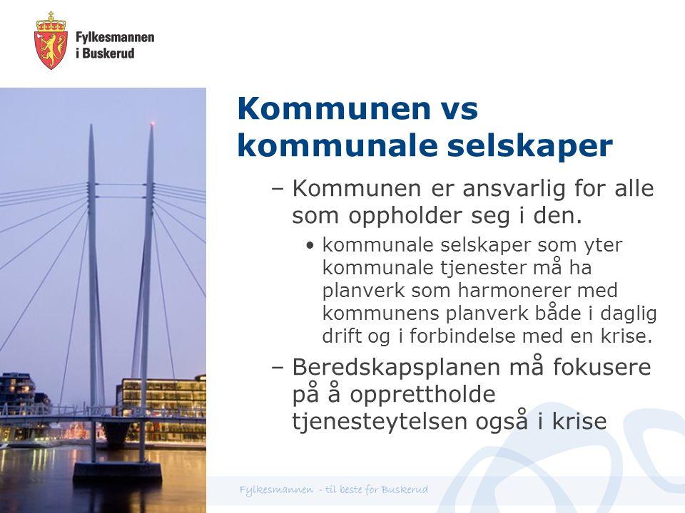 Kommunen vs kommunale selskaper –Kommunen er ansvarlig for alle som oppholder seg i den.