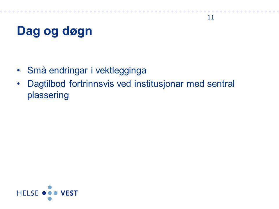 Små endringar i vektlegginga Dagtilbod fortrinnsvis ved institusjonar med sentral plassering Dag og døgn 11