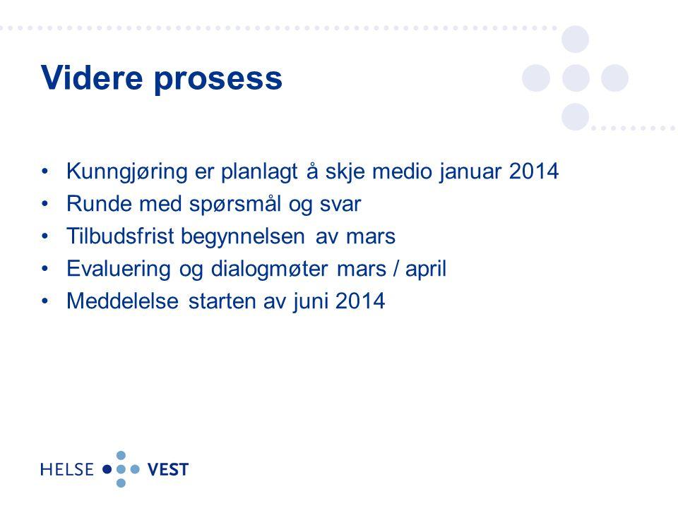 Kunngjøring er planlagt å skje medio januar 2014 Runde med spørsmål og svar Tilbudsfrist begynnelsen av mars Evaluering og dialogmøter mars / april Meddelelse starten av juni 2014 Videre prosess