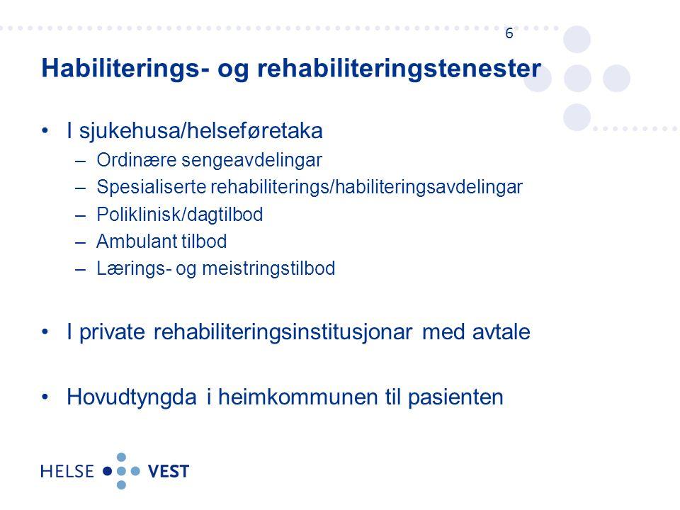 Helse Vest har avtaler med fem institusjonar: –Røde Kors Haugland Rehabiliteringssenteret –Krokeide Rehabilitering og Nærland Rehabilitering (LHL Helse) –Rehabilitering Vest (HSR) –Åstveit Helsesenter –Ravneberghaugen Rehabiliteringssenter Nye avtaler skal gjelde frå 01.01.