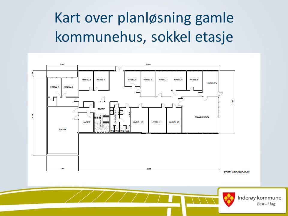 Kart over planløsning gamle kommunehus, sokkel etasje