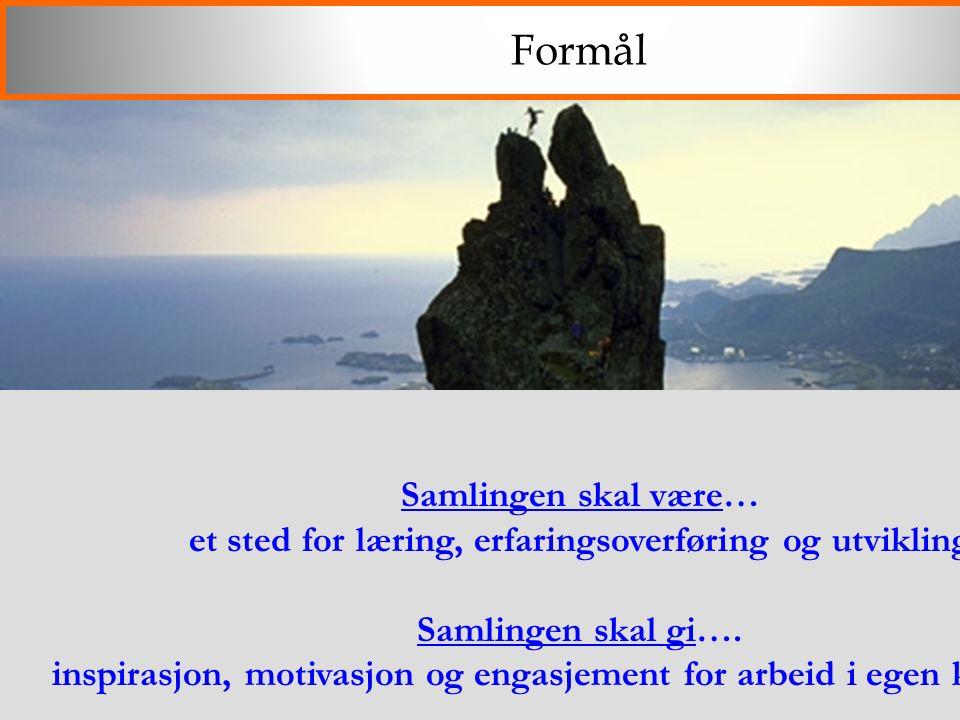 2009 Formål Samlingen skal være… et sted for læring, erfaringsoverføring og utvikling Samlingen skal gi…. inspirasjon, motivasjon og engasjement for a