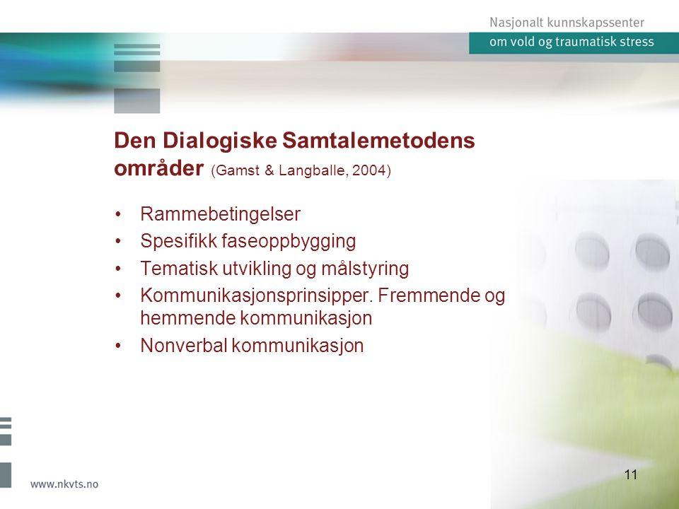11 Den Dialogiske Samtalemetodens områder (Gamst & Langballe, 2004) Rammebetingelser Spesifikk faseoppbygging Tematisk utvikling og målstyring Kommunikasjonsprinsipper.