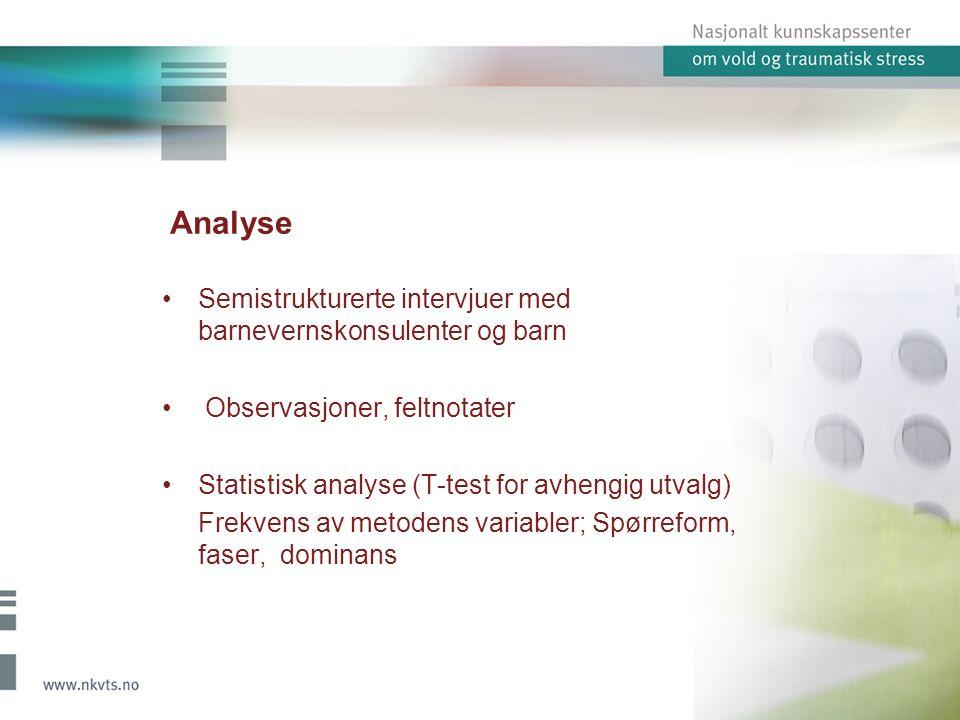 Analyse Semistrukturerte intervjuer med barnevernskonsulenter og barn Observasjoner, feltnotater Statistisk analyse (T-test for avhengig utvalg) Frekvens av metodens variabler; Spørreform, faser, dominans