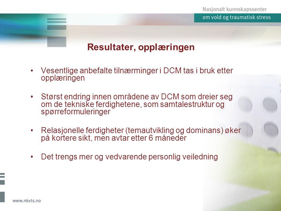 Resultater, opplæringen Vesentlige anbefalte tilnærminger i DCM tas i bruk etter opplæringen Størst endring innen områdene av DCM som dreier seg om de tekniske ferdighetene, som samtalestruktur og spørreformuleringer Relasjonelle ferdigheter (temautvikling og dominans) øker på kortere sikt, men avtar etter 6 måneder Det trengs mer og vedvarende personlig veiledning