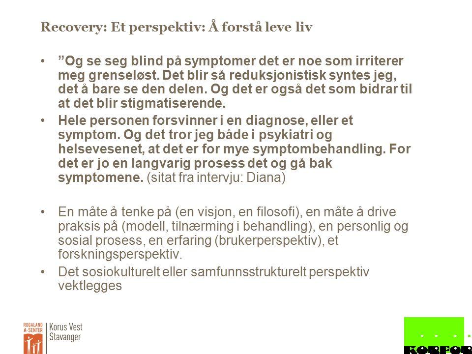 Recovery: Et perspektiv: Å forstå leve liv Og se seg blind på symptomer det er noe som irriterer meg grenseløst.