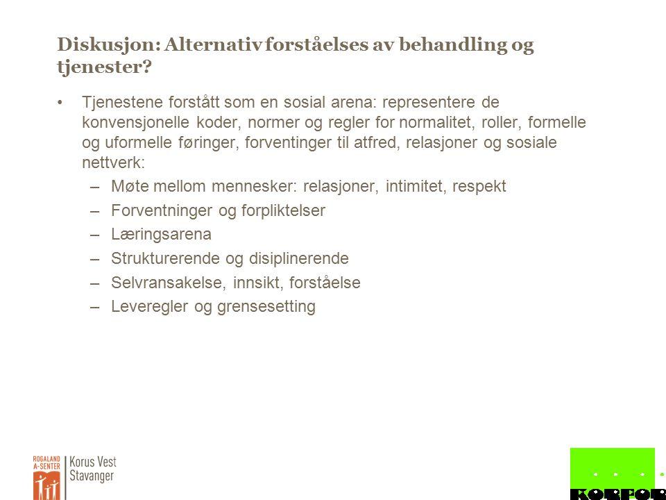 Diskusjon: Alternativ forståelses av behandling og tjenester.