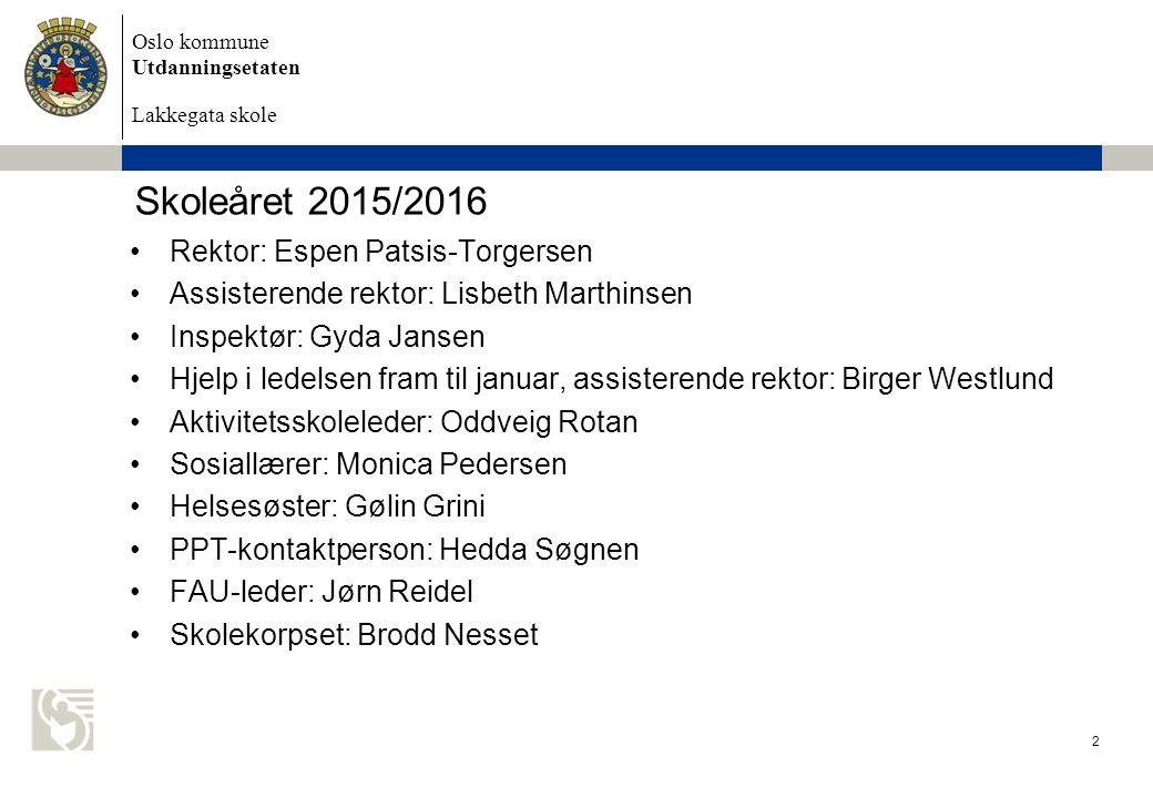 Oslo kommune Utdanningsetaten Lakkegata skole Skoleåret 2015/2016 Rektor: Espen Patsis-Torgersen Assisterende rektor: Lisbeth Marthinsen Inspektør: Gy