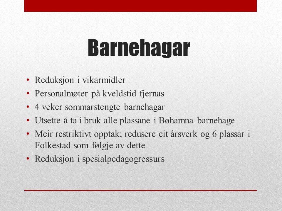 Grunnskule Kutt i lærerstillingar, 2,5 årsverk Kutt i vikarmidlar Skulanes arbeid med å redusere talet på spesialundervisning – korleis handtere dette nå.