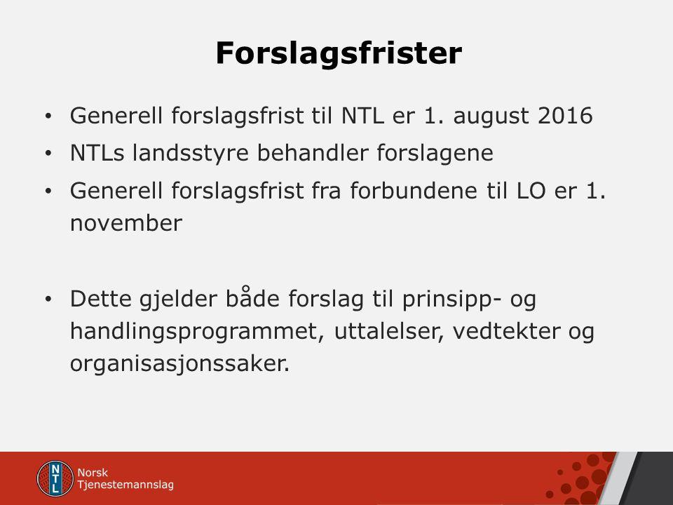 Forslagsfrister Generell forslagsfrist til NTL er 1. august 2016 NTLs landsstyre behandler forslagene Generell forslagsfrist fra forbundene til LO er