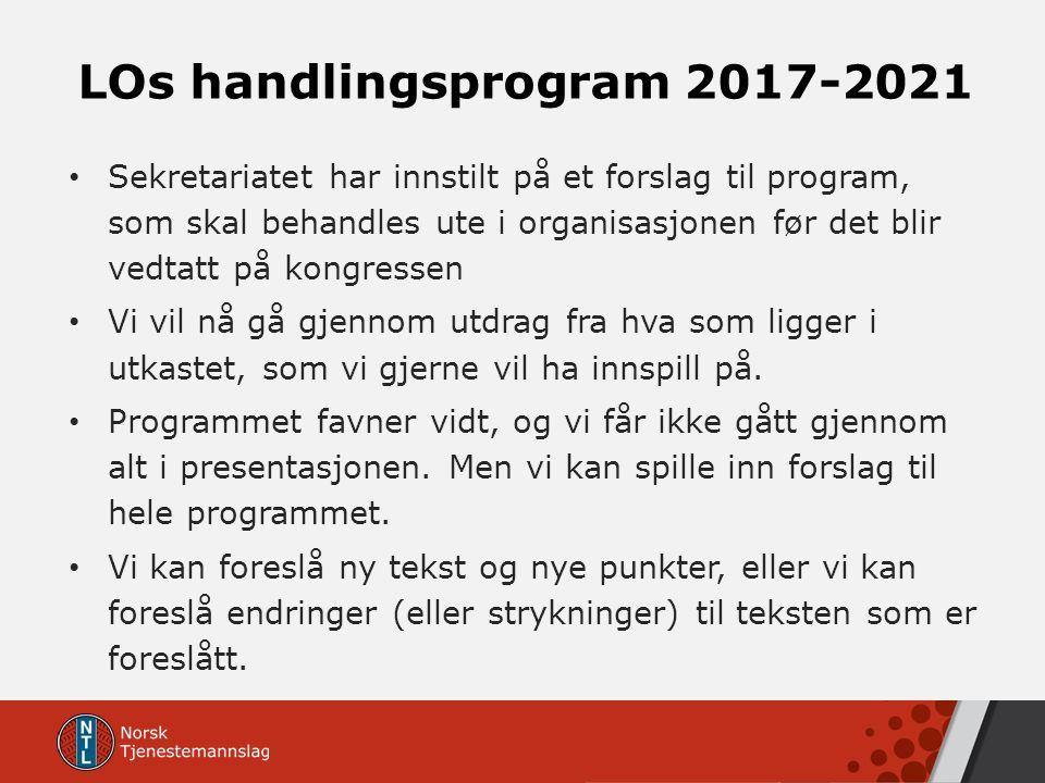 LOs handlingsprogram 2017-2021 Sekretariatet har innstilt på et forslag til program, som skal behandles ute i organisasjonen før det blir vedtatt på k