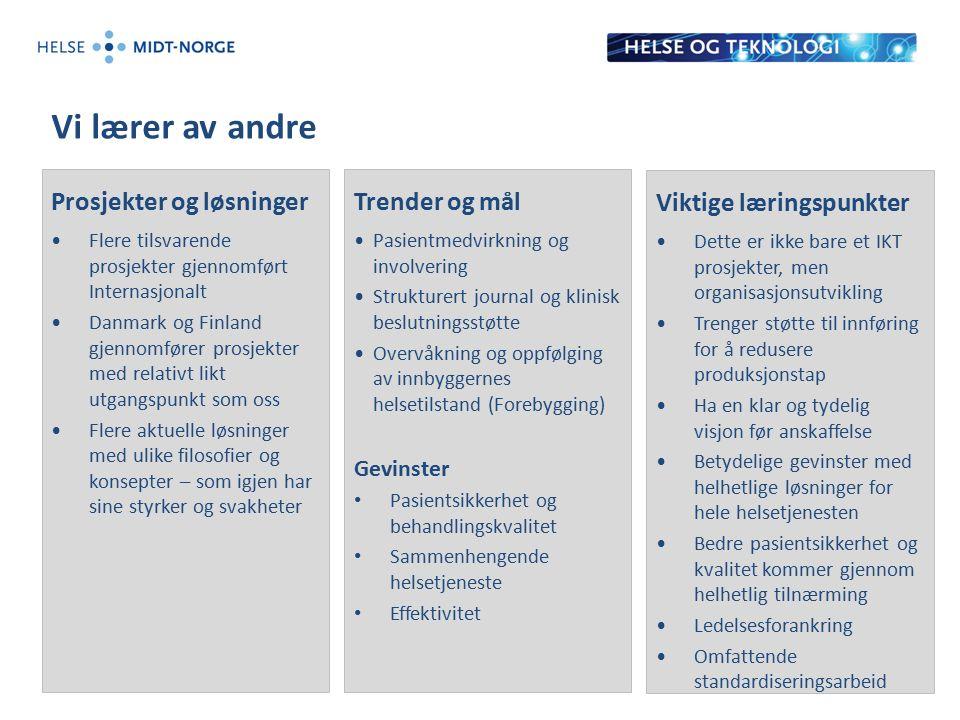Vi lærer av andre Prosjekter og løsninger Flere tilsvarende prosjekter gjennomført Internasjonalt Danmark og Finland gjennomfører prosjekter med relat