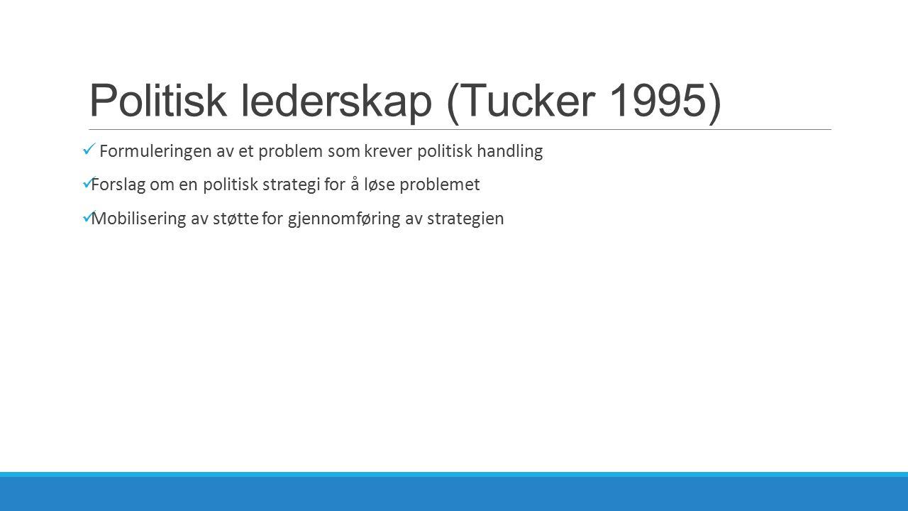 Politisk lederskap (Tucker 1995) Formuleringen av et problem som krever politisk handling Forslag om en politisk strategi for å løse problemet Mobilis