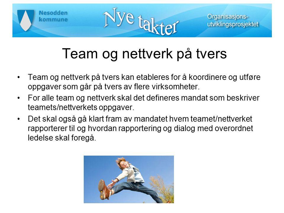 Team og nettverk på tvers Team og nettverk på tvers kan etableres for å koordinere og utføre oppgaver som går på tvers av flere virksomheter.