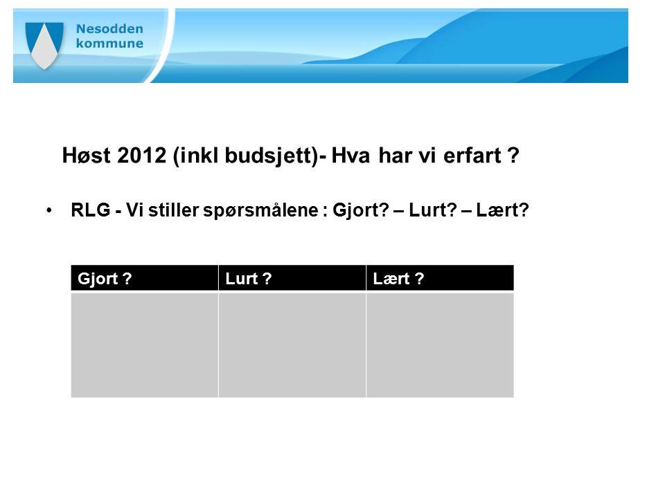 Høst 2012 (inkl budsjett)- Hva har vi erfart ? RLG - Vi stiller spørsmålene : Gjort? – Lurt? – Lært? Gjort ?Lurt ?Lært ?