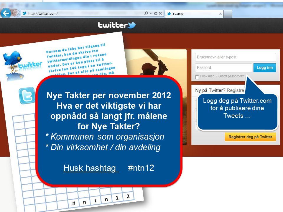 Logg deg på Twitter.com for å publisere dine Tweets … Nye Takter per november 2012 Hva er det viktigste vi har oppnådd så langt jfr. målene for Nye Ta