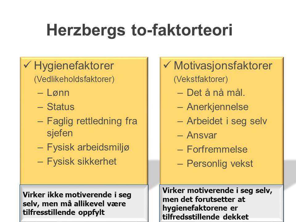 Herzbergs to-faktorteori Hygienefaktorer (Vedlikeholdsfaktorer) –Lønn –Status –Faglig rettledning fra sjefen –Fysisk arbeidsmiljø –Fysisk sikkerhet Motivasjonsfaktorer (Vekstfaktorer) –Det å nå mål.